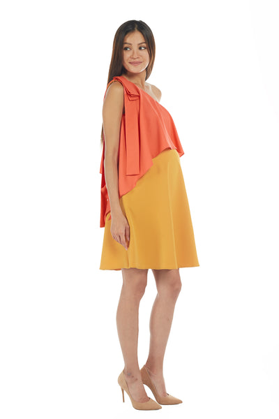 Honey & Apricot One Shoulder with Long Ribbon Frills