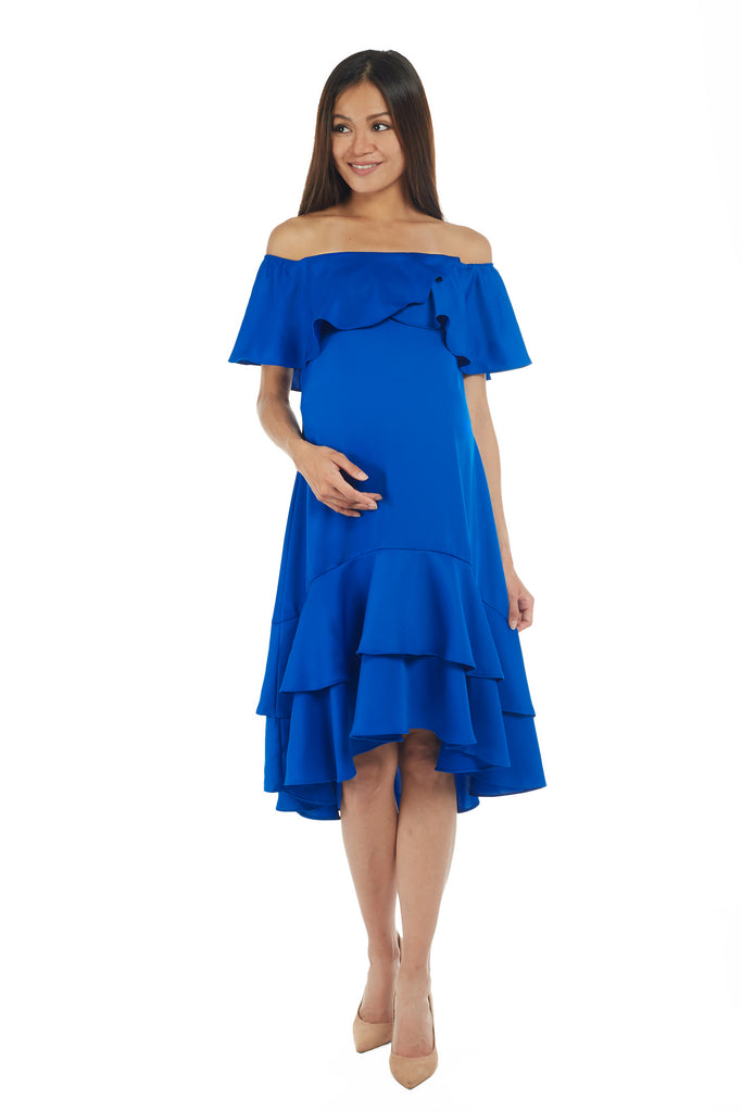Off Shoulder Electric Blue Midi