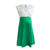 V-Neck Empire in Green & White Satin