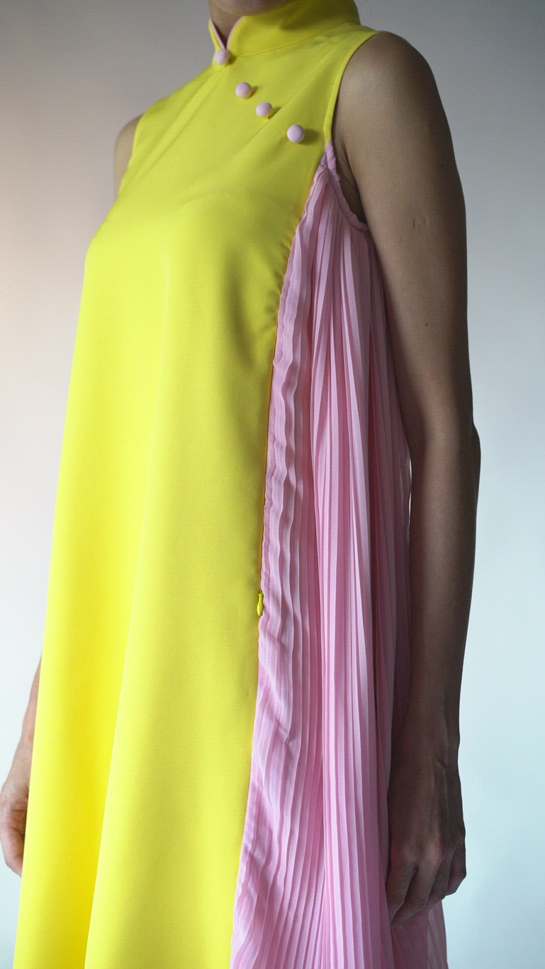 Yellow and Pink Pleat Modern Cheong Sum