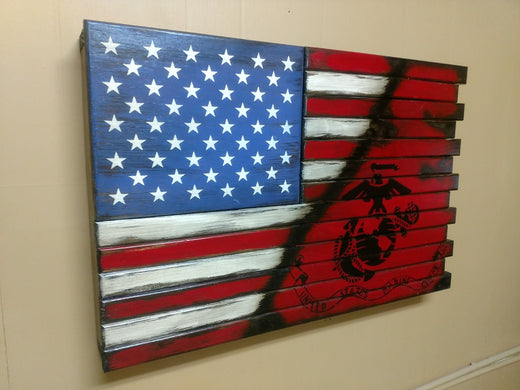 Liberty Home Concealment Small American Flag With Marine Corps Logo