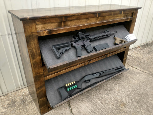Hidden Gun Storage Shelf With Dual Drop Down Concealed Compartments