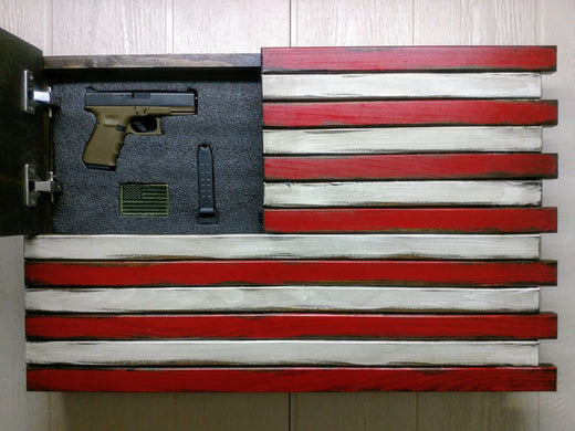 Wooden American Flag Gun Case Concealment Flag Liberty Home