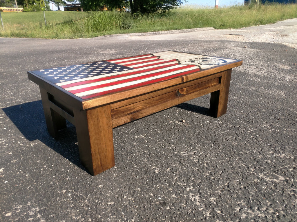 Tactical Furniture Rustic American Flag Coffee Table