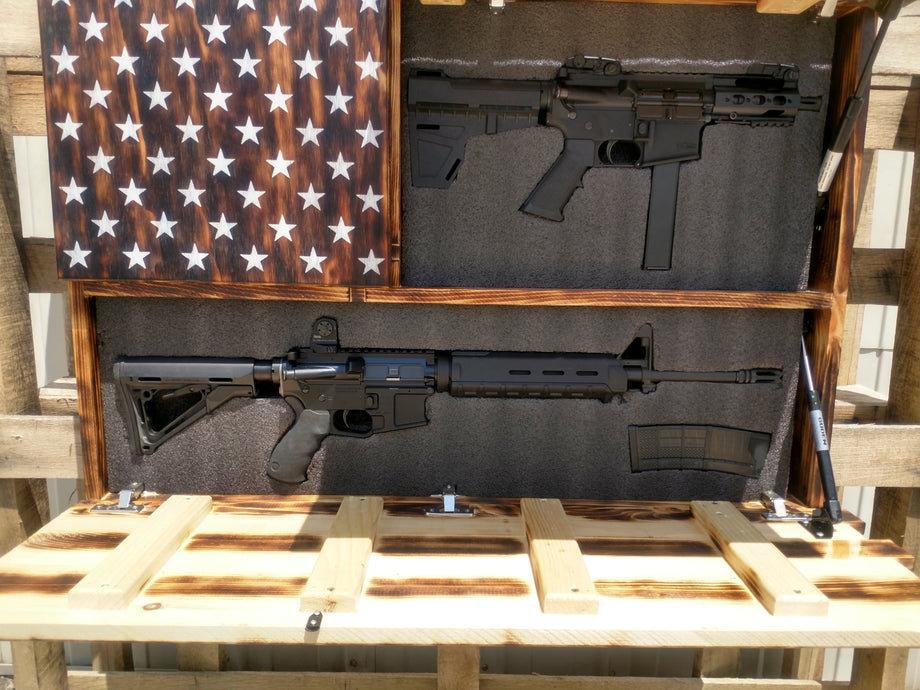 a191e568ec38 A charred wooden American concealment flag with 2 of its storage  compartments opened