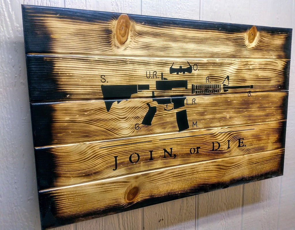 Charred Ar 15 Join Or Die Hidden Gun Storage Sign Liberty Home