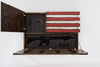 2 panels of a wooden concealment flag open to reveal small and large compartments lined with foam, stripes cover the design that doesn't open