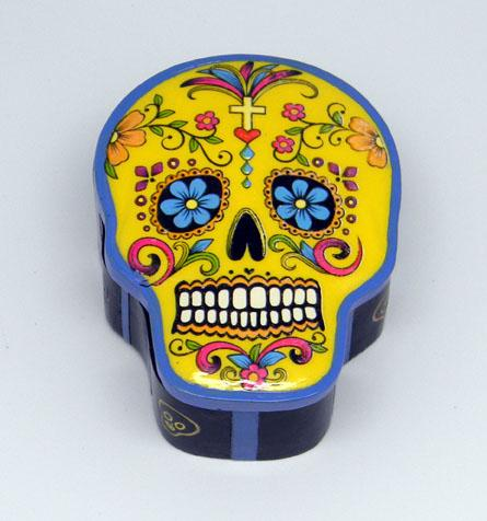 Day of the Dead Sugar Skull Stash Box in Yellow