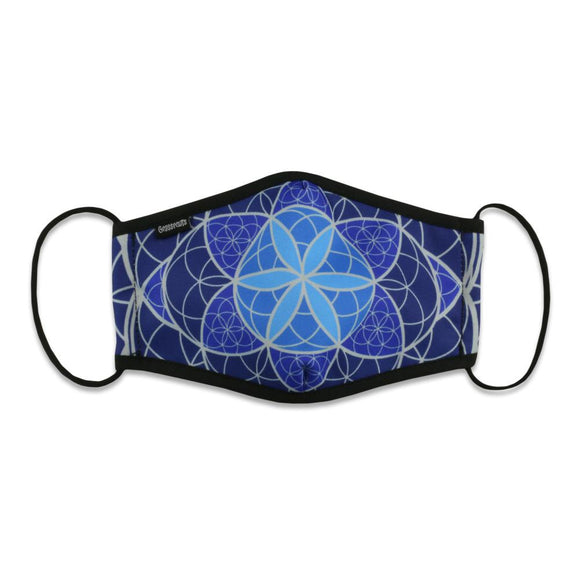 Flower of Life Blue Face Mask by Grassroots California