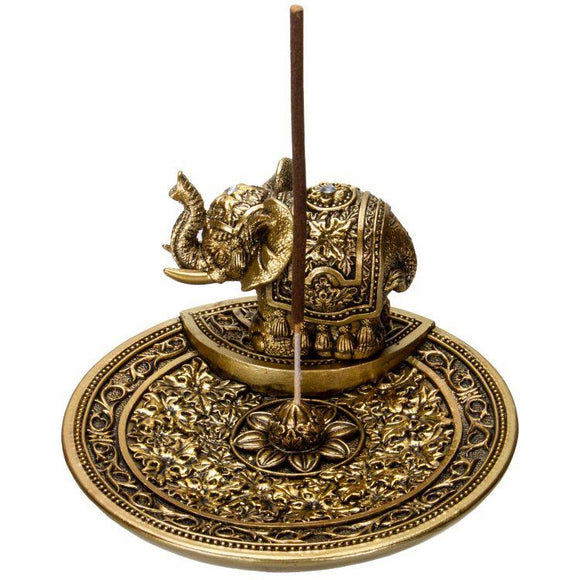 Gold Elephant Round Incense Holder