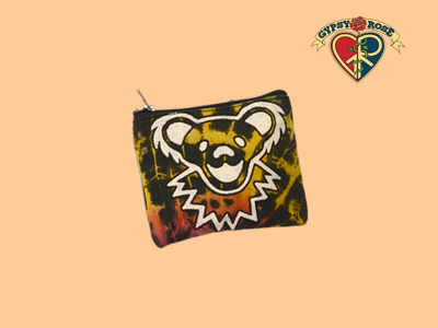 Grateful Dead Bear FaceTie Dye Cotton Coin Purse - Small