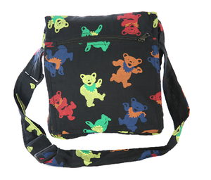 Grateful Dead Bear Printed Cotton Square Shoulder Bag
