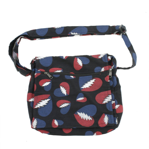 Grateful Dead Heart Bolt Print Cotton Square Shoulder Bag