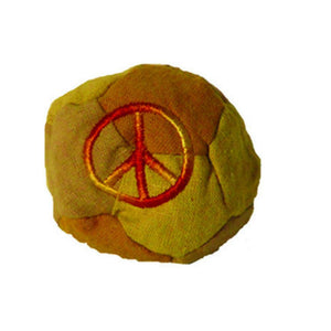 Hemp Patchwork Hacky Sack with Peace Sign