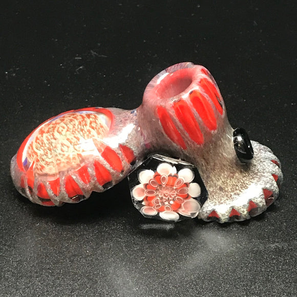Rotational Science Glass Grey Poppy Fillacello Deep Cut Pipe