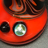 Rotational Science Glass Poppy Green Orange Swirl Bubbler