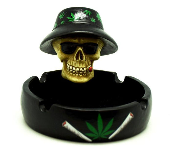Skull with Weed Hat Ashtray