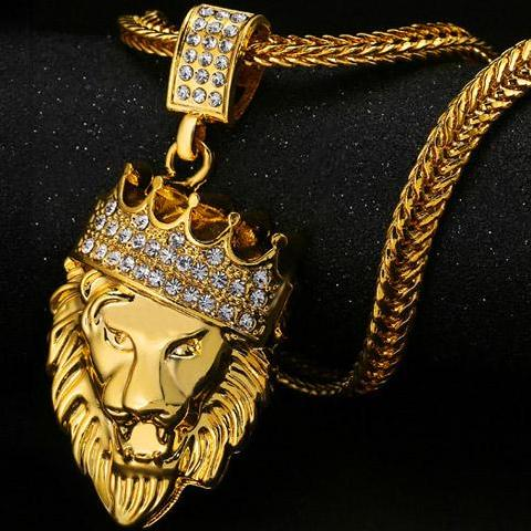 LUXURY 18K FULLY ICED OUT KING LION PENDANT + CHAIN BUNDLE