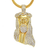18K Gold Iced-Out Jesus Pendant w/ Chain Bundle - Urban Jewellers