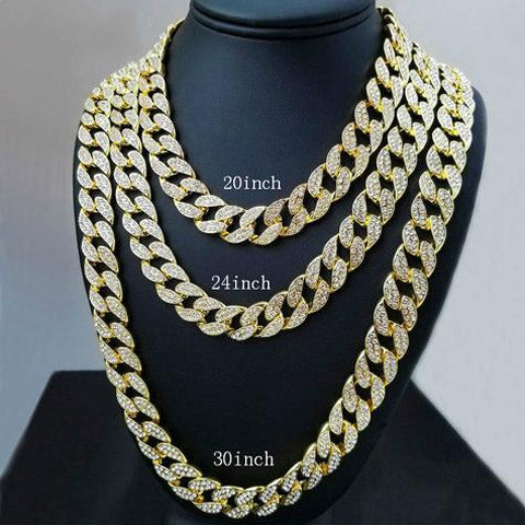 Luxury Deluxe Fully Iced Out Cuban Link Chain 18K Gold