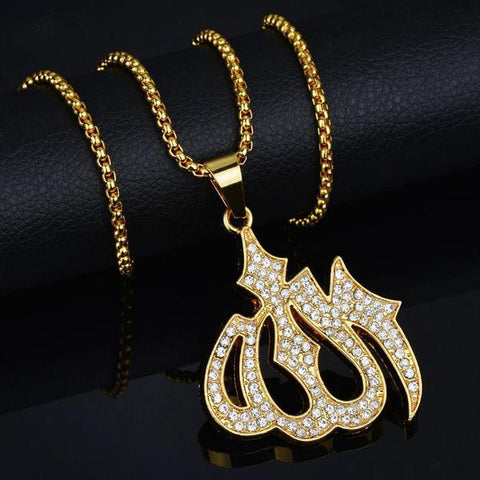 Luxury Iced Out 18K Allah Pendant + Chain Bundle