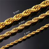18K Gold Stainless Steel Rope Chain - Urban Jewellers