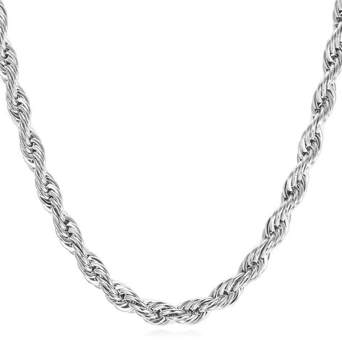 18K White Gold Stainless Steel Rope Chain - Urban Jewellers