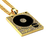 ICED OUT HIP HOP TURNTABLE PENDANT + CHAIN BUNDLE