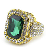 Luxury Iced Out 18K Gem Signet Ring