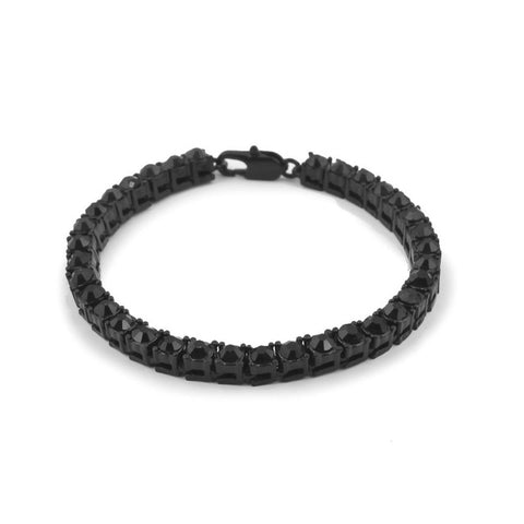 CZ Diamond Iced Black 316 Stainless Steel Tennis Bracelet (single-row)