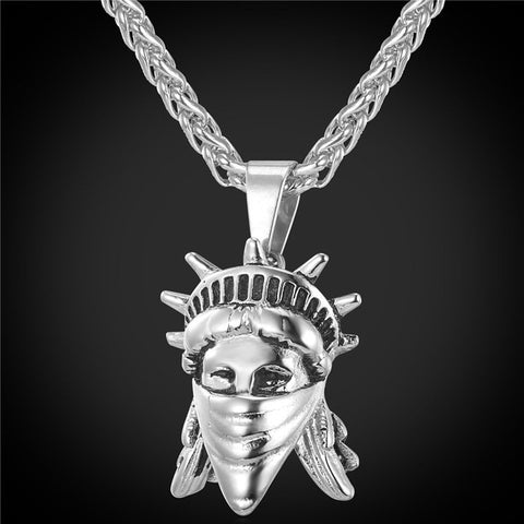 Luxury 18k Gold / Silver American Rebel Pendant + Chain Bundle