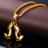 316L Stainless Steel 18K Gold Boxing Glove Pendant + Chain Bundle