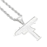 Luxury Iced-Out 18K Gold Uzi Gun Pendant + Chain Bundle