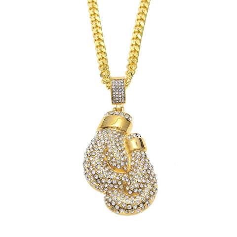 CZ Diamond Iced 18K Gold Boxing glove Pendant + Chain Bundle