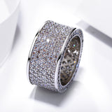 Wide CZ Diamond 18k Gold Ring