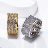 Wide CZ Diamond 18k Gold Ring - Urban Jewellers