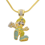 Luxury Fully Iced Out 18K L Cartoon Pendant + Chain Bundle