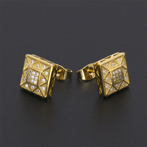 CZ Diamond Mosaic Iced Out 18k Gold Earrings - Urban Jewellers