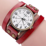 Vintage leather stainless steel watch