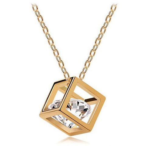 Chain Crystal Rhinestone Square Pendant Necklace