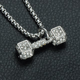 LUXURY ICED OUT 18K BARBELL PENDANT + CHAIN BUNDLE