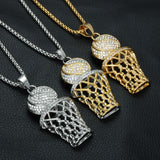 Luxury Fully Iced Out 18K Basketball / Hoop Pendant + Chain Bundle