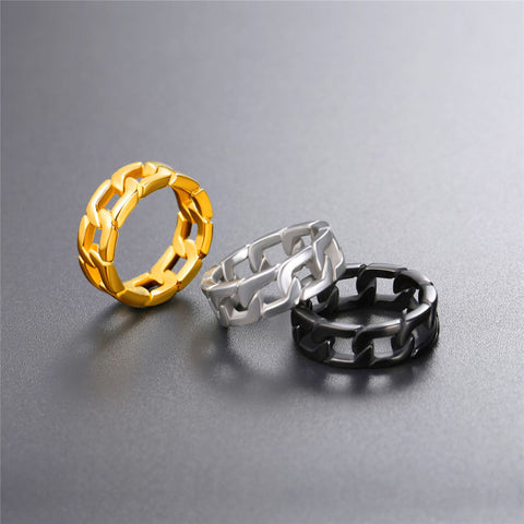 Stainless Steel Gold Chain Cubic Ring