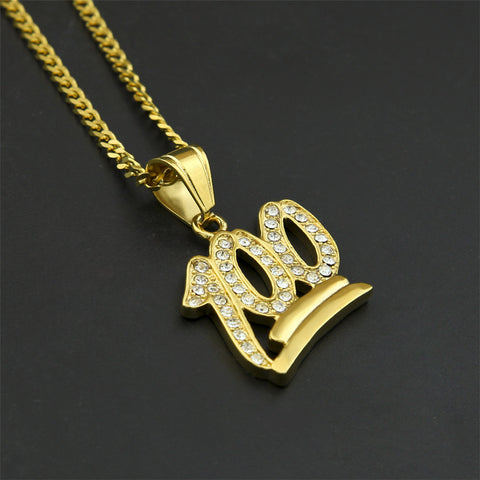 Luxury Iced 18k Gold Stainless Steel 100 Emoji Pendant + Chain Bundle - Urban Jewellers