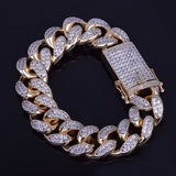 Premium Iced Out CZ Diamond 24K Gold Cuban Link Chain Bracelet