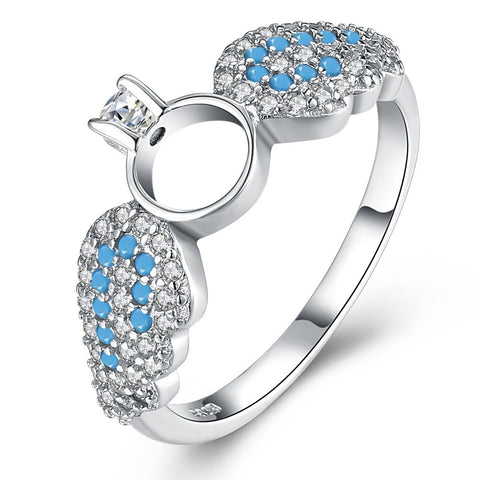 925 Sterling Silver Ring silver wings zircon