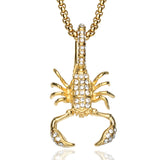 18k Gold CZ Diamond Iced Out Scorpion Pendant + Chain Bundle