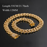18K Gold Cuban Link Chain Iced-Out with CZ Diamonds - Urban Jewellers