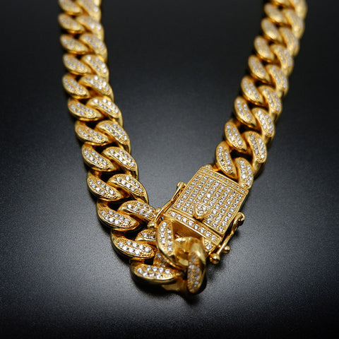 18K Gold Cuban Link Chain Iced-Out with CZ Diamonds