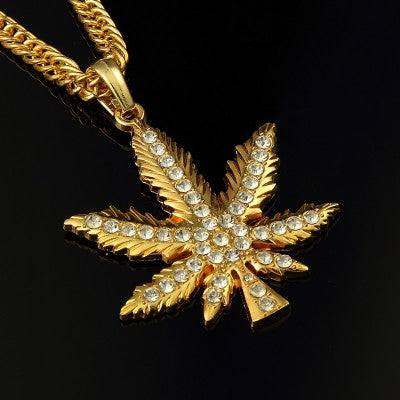 14K Iced Quartz Cannabis Leaf Pendant + Chain Bundle